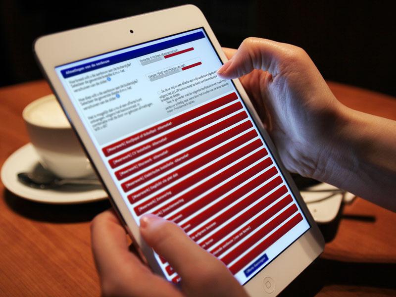 Hoekbouw 0800-aanbouw Tablet Applicatie