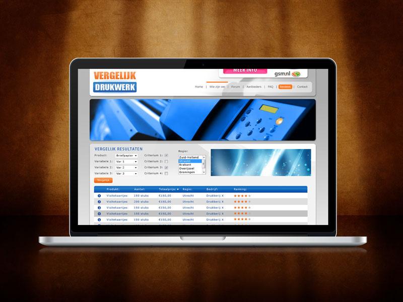 Vergelijk Drukwerk Desktop Website